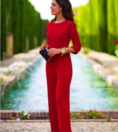 Wholesale Full Drain - 2016 Spring Fashion Womens Jumpsuits Ladies OL Sexy Jumpsuit Solid Color Back Drain Empty 3 4 Sleeve Romper Work Jumpsuits Womens