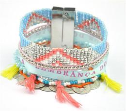 Bracelets de charme mexicain en Ligne-Mode Femmes Bohème Coin Mexicain Bracelets Perlés Tressé Multi Couche Plage Charme Strass Chaîne Bracelets Partie