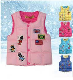 Wholesale Down Vest Cartoon Waistcoats - The new 2015 cartoon embroidered private cotton-padded clothes Children down cotton-padded jacket vest vest BH1274