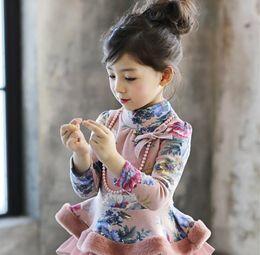 Wholesale grey kids dress - Korean Winter Girl Long Sleeve T-shirt Floral Print Dress Shirt with Necklace Kids Thicken Girls Shirts Children Tees Pink Grey K5810