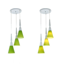 Wholesale Green Modern Art Paintings - Modern Frosted Green Glass Horns Dining Room Ceiling Pendant Lamp Round Oblong Painted Top Restaurant Bar Counter Chandeliers Light