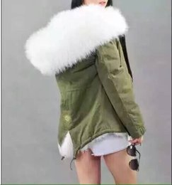 Wholesale White Cashmere Fur Coat - Outerwear Mr Mrs Furs rabbit fur lined ARMY MINI PARKA REAL with raccoon dog fur collar HOOD Mr Mrs itlay coats JACKET