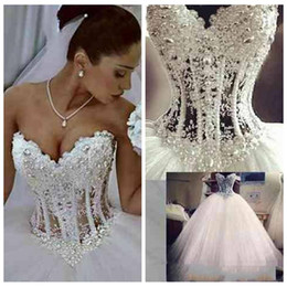 Wholesale Corset Tulle Wedding Dresses - 2018 Ball Gown Wedding Dresses Sweetheart Corset See Through Floor Length Princess Bridal Gowns Beaded Lace Pearls Custom Made