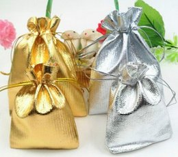 Wholesale Gold Foil Gifts - Gold Or Silver Foil Organza Wedding Favor Gift Bag Pouch Jewelry Package jewelry bag joyful bag 7x9cm   9x12cm   11x16cm   13x18cm 100pcs