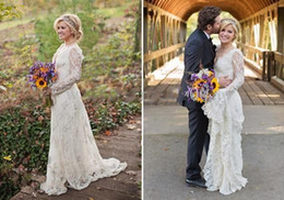 Wholesale Gorgeous Elegant Wedding Dresses - 2015 Gorgeous Deep V-Neck Applique Kelly Clarkson Long Sleeve A Line Sheer white Lace Wedding Dresses With Sweep Train 2015 Elegant dresses