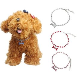 Wholesale Dog Collar L Rhinestone - 2015 Dog Puppy Necklace Collar With Crystal Pink Blue White Red Bone Rhinestones Pet Collar,Dog Necklace,Pet Jewelry S M L [FS01019*6]