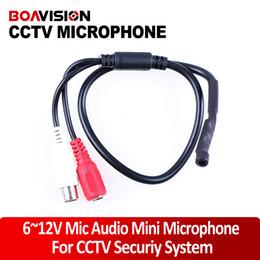Wholesale Cctv Cameras Microphones - 9-14V DC Power Mini High Sensitive CCTV Microphone Wide Range for Security Camera Audio Surveillance DVR