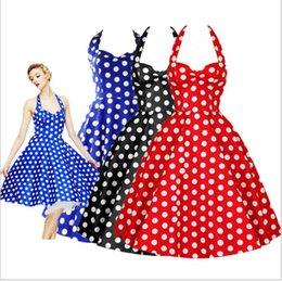 "Wholesale Dresse Sexy - ""Women Dress Summer New Sweet Polka Dots Sexy Halter Slim Dresses Elegant Charm Party Vintage Backless Casual Princess High Quality Dresse"
