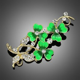Wholesale Clover Brooch Pin - wish_team Hot Selling Fashion Lucky clover Brooches Pins Women's Exquisite temperament brooches Bridal Brooch pin W591