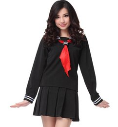 Wholesale Navy Sailor Dress - Wholesale-Japanese Navy Sailor Suit Long Sleeve School Girl Uniforms Dress Outfits Sweet Kawaii Lolita Dresses