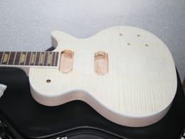 Wholesale Electric Guitar Kits Mahogany Body - Custom Shop one piece mahogany neck Unfinished Electric Guitar Kit With Flamed Maple Top with hardware with case