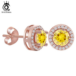Wholesale Yellow Diamonds Wholesale - ORSA Rose Gold Earring Stud with 0.75 ct Yellow CZ Diamond Classical 4 Claw Earrings For Women 2 Colors Available OE104-R