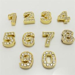 """letras de la pulsera del agujero grande Rebajas Venta al por mayor 50PCS / Lot 8 MM Rhinestones completos números de diapositivas de oro """"0-9"""" encantos de diapositivas Fit 8 MM pulsera de bricolaje pulsera cinturón puede elegir números SN03"""