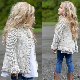 Wholesale Wholesale Jacket Buttons - Baby Clothes INS Sweaters Girls Princess Party Knitwear Kids Knitted Pullover Winter Long Sleeve Jumper Fashion Coat Outerwear Jackets B3505
