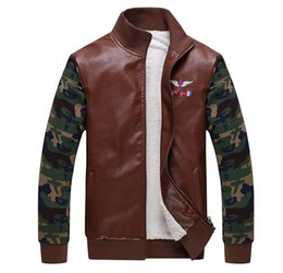 Wholesale Green Leather Jackets For Men - Fall-Military Style Blazer Fur Liner Thermal Stand Collar Patchwork Camo Leather MA1 Army Green Bomber Jacket For Men AY323