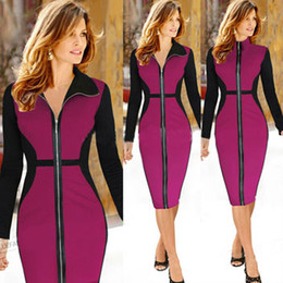 Wholesale Elegant Slim Office Dress - Tunic 2015 autumn new arrival fashion women dress patchwork slim bandage dress elegant long sleeve winter office dress with zip