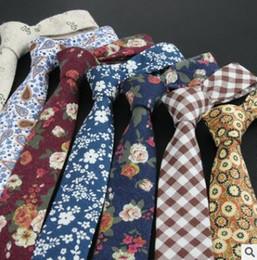 Wholesale Gravatas Slim - Fashion 100% Cotton Ties For Men Casual Plaid Necktie Gravatas Corbatas Slim Suits Vestidos Mens Neckties Party Narrow Neck Tie