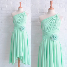 Wholesale Short Bridesmaids Dresses Hands - 2015 Mint Bridesmaid Dresses Asymmetrical Neckline Pleats Hand Made Flowers Chiffon Tea Length Maid Of Honor Dresses Dhyz 01