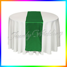 "Wholesale Wholesale Table Covers Weddings - Wholesale-Free shipping 10 Pieces Emerald   Dark Green 12""x108"" Satin Table Runners Table cover For Wedding Party Banquet"