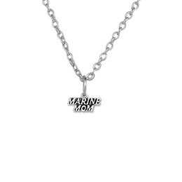 Wholesale Marine Wife - 100pcs lot Marine Mom Wife Message Zinc Alloy Antique Silver Plated Charm Link Chain Necklace Jewelry (A121540)