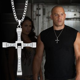 Wholesale Male Ropes - Furious 7 with section Alloy Diamond cross necklace accessories clavicle domineering male and female couple pendant jewelry