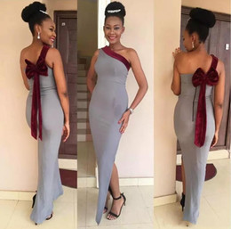 Wholesale White Prom Dress Red Belt - 2018 Vintage Gray Sheath Floor Length Prom Dresses One Shoulder Zipper Back with Burgundy Velvet Bow Belt Cheap Formal Evening Party Wear