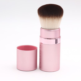 Wholesale Cute Makeup Brushes - 1pcs Portable Pink Cute Luxurious Soft Wavy Synthetic Hair Pull-Up Cover Big Retractable Kabuki Blush Makeup Brush Cosmetic Tools