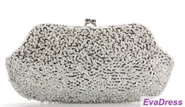 Wholesale Shell Wedding Bag - Fashion Free Shipping New Arrival Evening Clutches High Luxury Beads Crystal Shiny Party Wedding Sliver Women Handbags Chain
