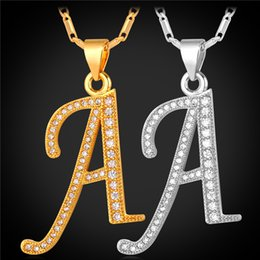 Wholesale Gold Initials - U7 Initial Necklace Luxury Cubic Zirconia A Pendant Platinum 18K Real Gold Plated Fashion Women Men Jewelry Perfect Gift Lucky Necklaces