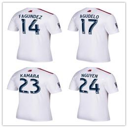 Wholesale Red Revolution - 2017 MLS New England jersey 17 AGUDELO thai quality England Revolutions away red white football shirt FAGUNDEZ KAMARA NGUYEN soccer jersey