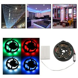 Wholesale Flexible Light Box - Wholesale- WS68 12 RGB 5050 SMD LED Strip Lamps no Waterproof Flexible LED Tape Light 5V Lamp Black Strip Light With Battery Box hot