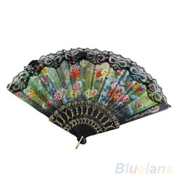 Wholesale Wholesale Fabric Hand Fans - Wholesale-Spanish Flower Floral Fabric Lace Folding Hand Dancing Wedding Party Decor Fan 1N1G 2KFM