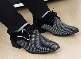 Wholesale Lace Dress Match - New fashion lace-up Color matching Men suit Dress Shoes Office Men's pointed Leather shoes Male Business Shoes
