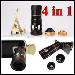 Wholesale Zoom Cell Phone - 4 in 1 Universal Clamp Camera Lens + Wide Angle Lens + Macro + 10x Optical Zoom Clip Telephoto Clamp Clip camera cat eyes For Cell phone