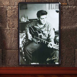 Wholesale Sticker Retro Vintage - Elvis Presley Vintage Music Poster Retro Painting Picture Cafe Bar Iron Metal Posters Mural Wall Sticker Home Art Decor Tin sign