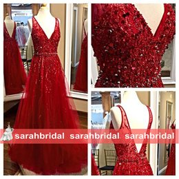 Wholesale Red Backless Maxi Dress Prom - 2015 Elie Saab Prom Dresses 2016 Red Tulle Beautiful Luxury Beading Sequined Bodice Sexy V-Neck Long Maxi Bridal Evening Gowns Formal Wear
