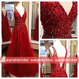 2019 robes de bal Elie Saab rouge tulle belle luxe perles corsage paillettes sexy col v longue maxi robes de soirée de mariée tenue de soirée ? partir de fabricateur