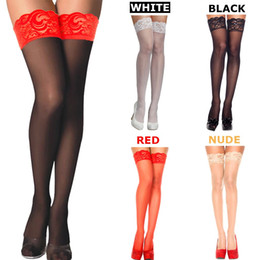 Wholesale Womens Hosiery Thigh High - w1029 BEILEISI Solid Black Red white colored Womens sexy Lace top Sheer Thigh High Over knee nylon stockings sock hosiery for lingerie