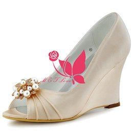 Wholesale Cheap Yellow Wedge Heels - Brand New Cheap Shoes Beige Satin Wedges Bridal Pearls Shoes Peep Toe Wedding & Party Shoes WS0111 Customise Size 33 to 43