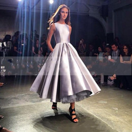 Wholesale Dress Tea Length Pockets - Modern Evening Dresses Tea Length Silver Jewel Neck 2016 A Line Wedding Dresses With Pocket Runway Party Celebrity Gowns Custom Made