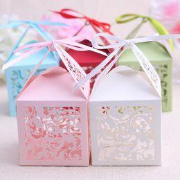 Wholesale Laser Cut Gift Boxes White - 100 pcs Pink Candy Box Laser-Cut Flower Gift Boxes Wedding Favors Box