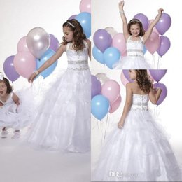Wholesale Discount Ball Gowns Sale - Hot Sale Ball Gowns Halter Sweep Train Organza White Pageant Girls Dresses Beaded Cheap Flower Girls Dresses For Wedding Discount