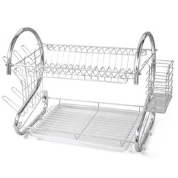 Wholesale Double Dish Rack - !New 2 TIER CHROME PLATE DISH CUTLERY CUP DRAINER RACK DRIP TRAY PLATES HOLDER UK
