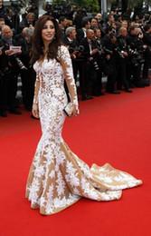 Wholesale Najwa Karam Long Dresses - Najwa Karam Cannes 2015 Deep V-Neck Celebrity Red Carpet Prom Dresses Backless Mermaid Satin Long Sleeve Dresses For Women Sweep Train TB02