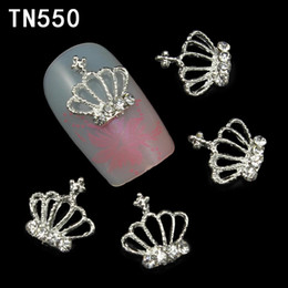 Wholesale Silver Glitter Nails - Wholesale-10Pcs Lot Hollow Out Silver Crown 3D Nail Art Decorations Rhinestone For Nails Alloy DIY Glitters Nail Tools
