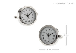 Wholesale Watch Rare - High Quality New Classic Silver Copper Mens Wedding Cufflinks Novelty Rare Fancy Watch With Correct Time & Clean Cloth 171104