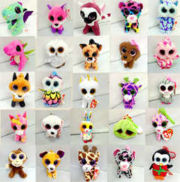 Wholesale Ty Toy Dogs - 10CM TY Beanie Boos Big Eyes Plush Toy Keychain Kawaii Ty Stuffed Animals for Handbag Pendant Penguin Panda Dog Cat Rabbit Dolls