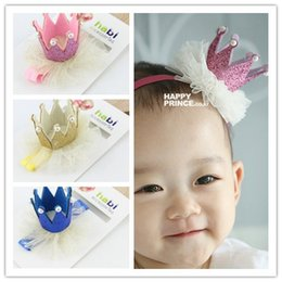 Wholesale Crowns For Decor - Mix color kids Baby Lace Crown headbands Photographic props Birthday Gift For Photo hair decor with parper card BA415