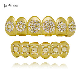 Wholesale Golden Teeth - Lureen Silver Gold Grills Iced Out Rhinestone Hip Hop Golden CZ teeth set Grills Cap Top & Bottom Mouth Grills Jewelry