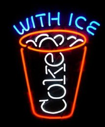"Wholesale coke signs - 2016 Hot COKE WITH ICE Drink Store Bar Custom Handcrafted Real Glass Tube Sign Light Cooco Cola Display Decorating Advertising Neon 17""X14"""